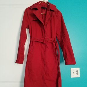 Vintage Kenneth Cole Red Trench Coat Sz Medium